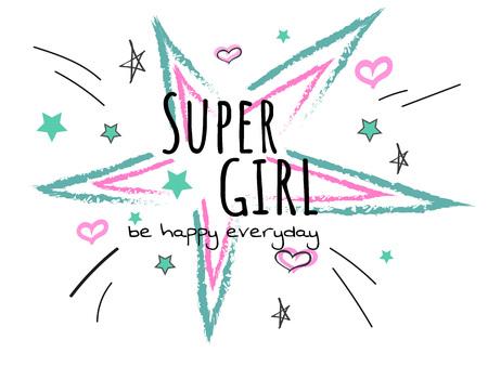 Cool slogan typography, t-shirt graphics, vectors illustration. fashion style - super girl with bursting star