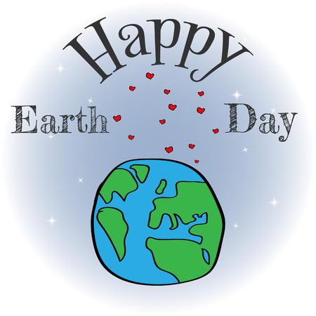 Earth day vector cartoon card. Illustration of a happy earth day banner, for environment safety celebration