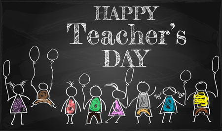 Illustration of Kids Celebrating Teachers Day,  banner or poster for Happy Teachers Day with nice and creative design
