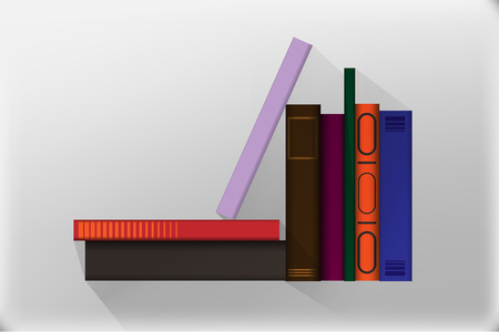Colored books, template design with books pile. Book icons in flat design style. 矢量图像