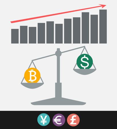 Bitcoin digital currency, dollar, euro, pound sterling, yen World finance concept vector illustration Illustration