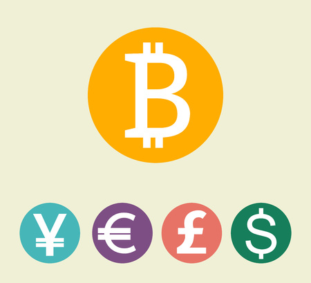 Bitcoin digital currency, dollar, euro, pound sterling, yen. World finance concept vector illustration