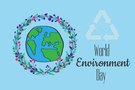 World environment day hand lettering card on blurred background. Vector illustration.