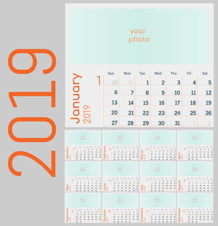 Calendar 2019. Colorful set. Week starts on Sunday, schedule business style