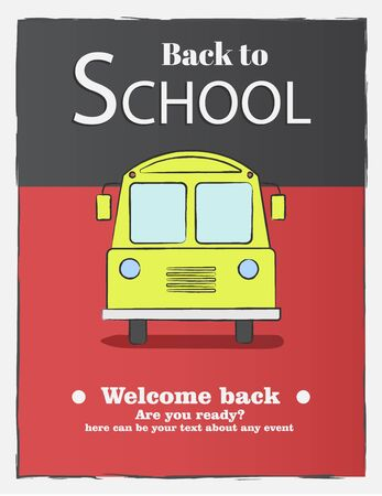 Back to school, card with color emblems sign welcome on background. School shopping. Vector illustration.