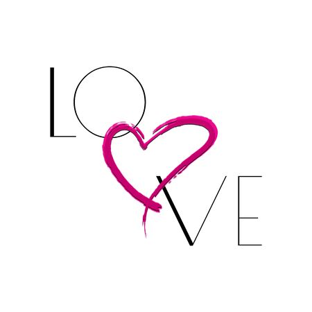 love slogan and heart illustration for t-shirt design