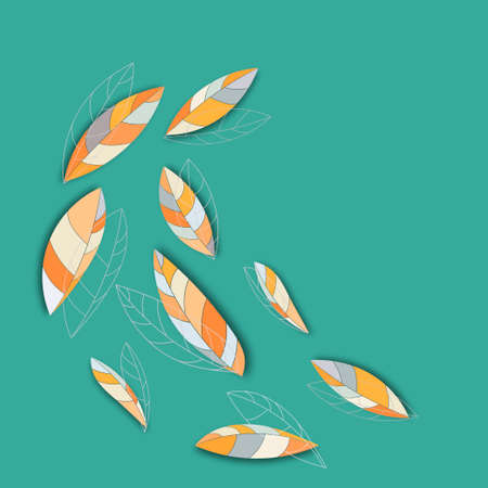 Set of isolated graphic leaves with shadows on a teal background. Dark orange, sandy brown and coral leaves Çizim