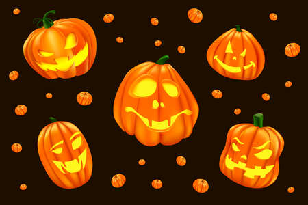 Halloween illustration with isolated set of big vector halloween pumpkin. Creepy and funny jacks for icons and decorations on dark background. Festive faces for party invitation, halloween cards, banners, web-design. Realistic 3D pumpkins.