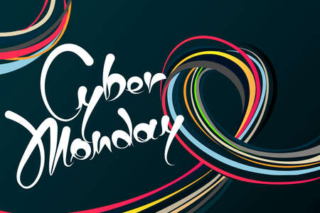 Bunch of colourful wires on dark background. Cyber monday Sales banner promoting store discounts in november. Symbols in different colors advertising marketing offer. Çizim