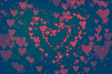 Floating hearts as a trendy background for valentines day greeting cards, flyer. Flat design of pink hearts as simple valentine elements for party invitation, banners, web-design.