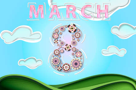 Papercut spring scenery as a womans day poster, banner, background, sales offer. Stylish papercut flowers in calm colors neatly arranged in number eight, paper cut clouds on a peaceful background. Perfect for email, presentation and invitation.Designed for 8 march, womans day celebration Illustration