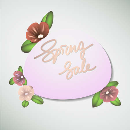 Flower banner design for business spring sales. Cute with volume handdrawn flowers, simple nice background. Good for floral advertising, women audience. Template for sale banners and blossom frame for holiday discount. Handwritten typography. Stok Fotoğraf - 102072792