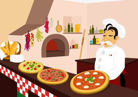 man s: Chef and three delicious pizzas in the cozy pizzeria Illustration