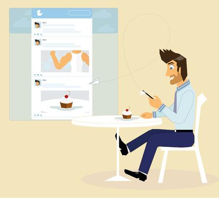 social networking: Un uomo � seduto in un caff� e scattare una foto di una torta per il social networking