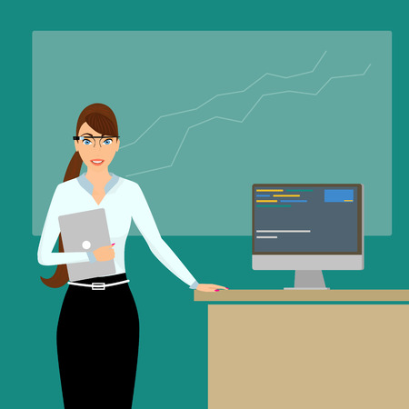 business attire teacher: Business coach with a laptop in the right hand at lecture time wearing a smart glasses