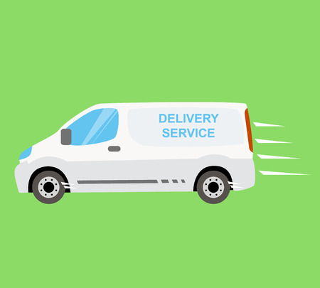 express delivery: White delivery van on the green background Illustration
