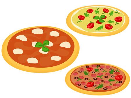 Set in three Italian pizzas Vector