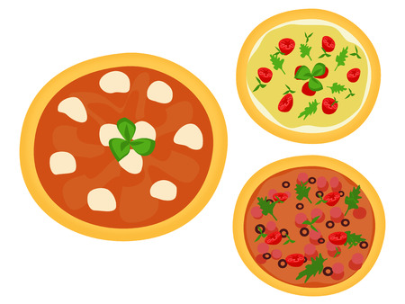 chef s hat: Set in three Italian pizzas upper view Illustration