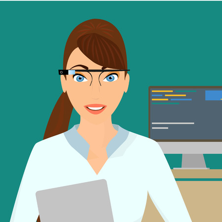 Business lady with a laptop in the right hand in the office wearing a smart glasses Vector