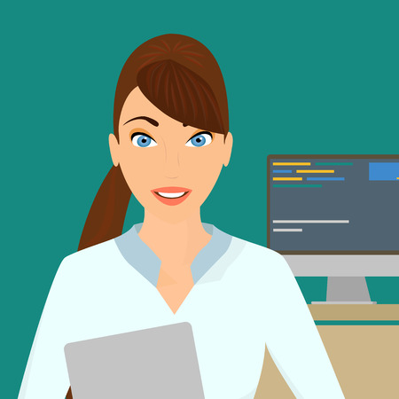 Business lady with a laptop in the right hand in the office Vector