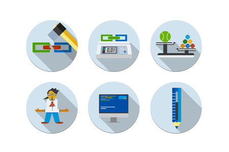 six web website: Flat design vector illustration six icons set of website SEO optimization, programming process and web analytics elements  Isolated link, weight, programmer, coder, seo, computer, pensil, copyrighting Illustration