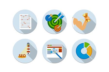 keywording: Flat design vector illustration six icons set of website SEO optimization, programming process and web analytics elements  Isolated keywording, targeting, dart  money, lighthouse, magic wand, round diagram Illustration