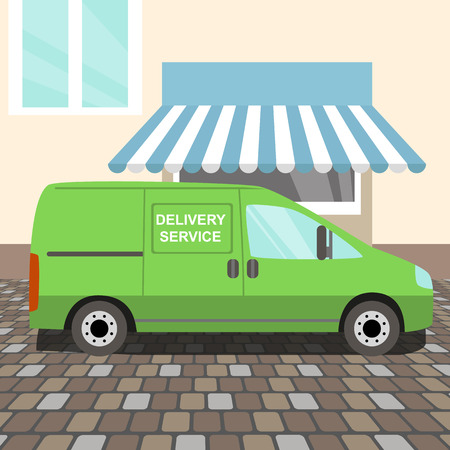 Green delivery Van stayed near a cafe Vector