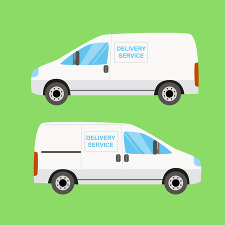 delivery van: White delivery van twice on the green background