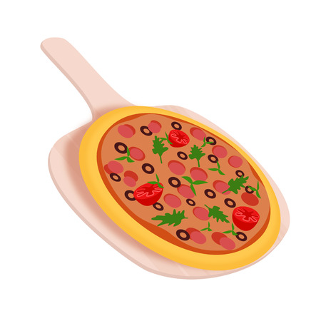 tossing: Pepperoni pizza on the small shovel