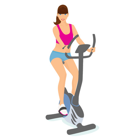 good mood: Smiling young woman with brown hair uses a bicycle for a good mood and slim body Illustration