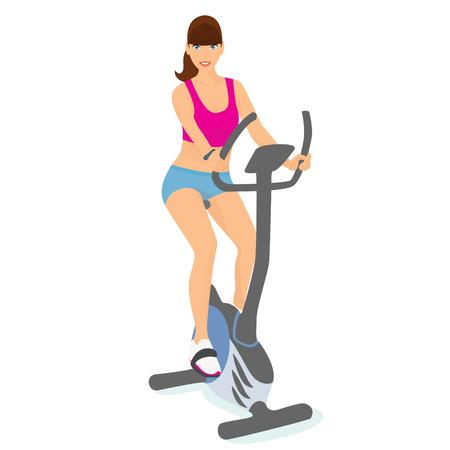 Mujer joven sonriente con el pelo castaño utiliza una bicicleta para un buen estado de ánimo y el cuerpo delgado