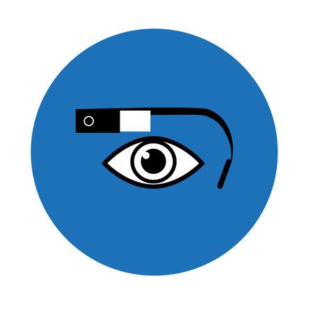 eyewear glasses: Google glass icon blue circle
