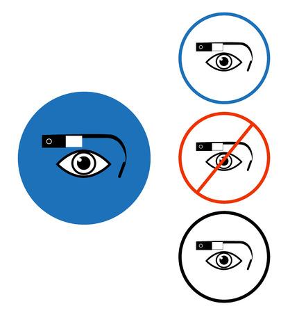 worktool: Google glass icon set blue red circle