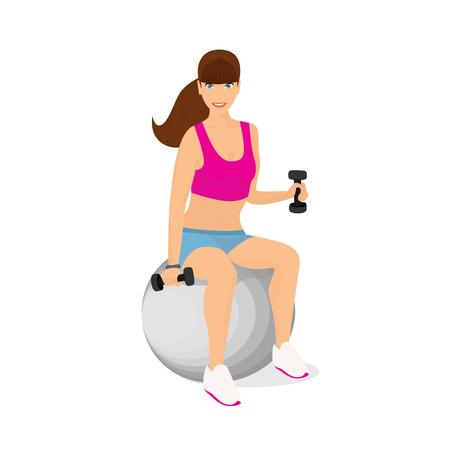 fitness ball: Aislados ilustraci�n de hermosa mujer el ejercicio con dos pesas con mancuernas sentado en la bola de la aptitud