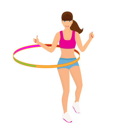 hula hoop: Isolated illustration of beautiful woman exercisingwith hula hoop