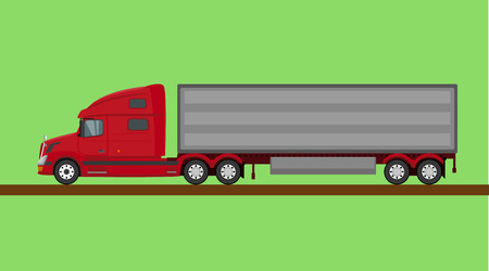 Red american truck isolated on green background Illustration