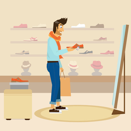 pring: Handsome guy interested in a new fashion shoes in a shop