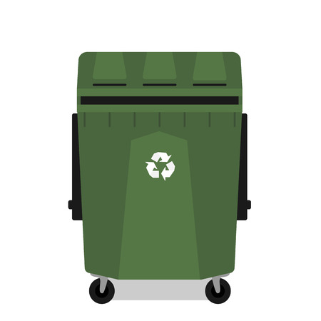 junkyard: Wheeled garbage can with recycling symbol empty isolated Illustration