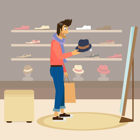 pring: Handsome guy interested in a new fashion hat in a shop