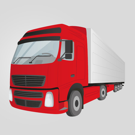 thoroughfare: Red delivery truck - isolated on the gray background