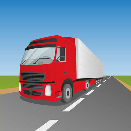 thoroughfare: Red delivery truck driving through green fields EPS10 Illustration
