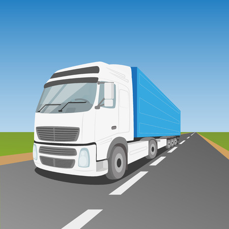 thoroughfare: White delivery truck driving through green fields EPS10 Illustration