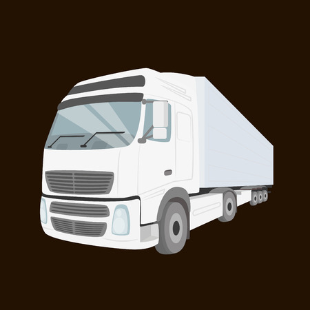 White delivery truck - isolated on the chocolate color background Illustration