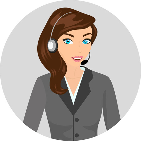 Female call centre operator with headset and smiling  Contains EPS10 and high-resolution JPEG Vector