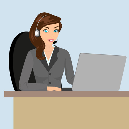 Female call centre operator with headset sitting in the office  Contains EPS10 and high-resolution JPEG Vector