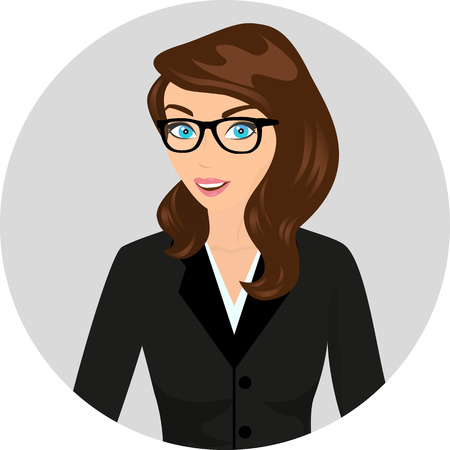Business lady wearing brown hair and modern glasses  Contains EPS10 and high-resolution JPEG Vector