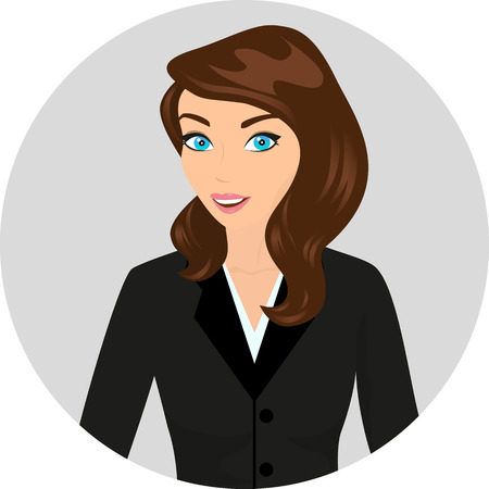 Business lady wearing brown hair close-up illustration  Contains EPS10 and high-resolution JPEG Vector