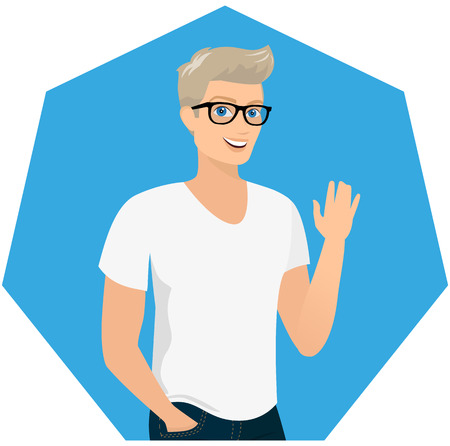 Handsome blond guy wearing blue fashion jeans and white t-shirt, close-up vector illustration. Contains EPS10 and high-resolution JPEG Vector