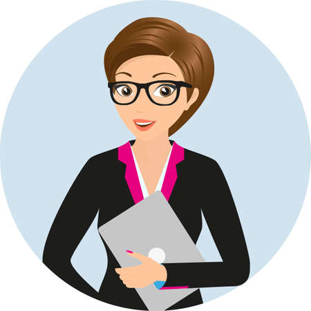 career coach: Business lady with a laptop in the left hand wearing glasses