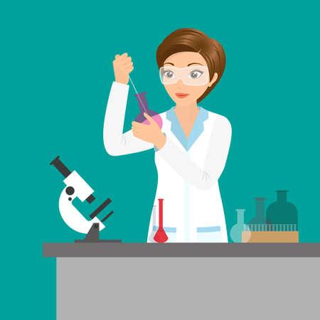 hipótesis: Ilustración vectorial de Mujer del químico afable haciendo un experimento